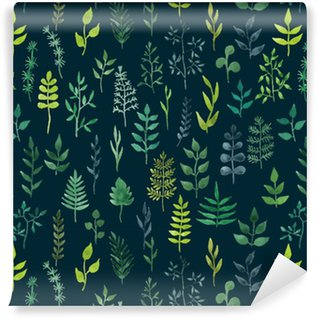 Vector green watercolor floral seamless pattern. Washable Wallpaper