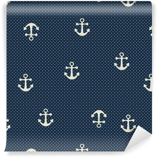 Vector hand drawn anchor seamless pattern Washable Custom-made Wallpaper