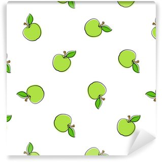 Vector illustration. Seamless pattern with falling green apples with stem and leaf on white background. Healthy vegetarian food. Pattern with contour. Washable custom-made wallpaper