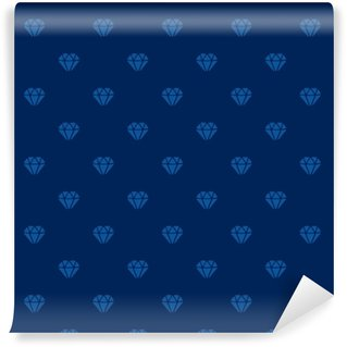 Vector illustration. Seamless pattern with silhouettes of diamonds on dark blue background Washable Custom-made Wallpaper