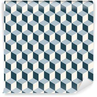 Vintage cubes 3d pattern background. Retro vector pattern. Washable Wallpaper