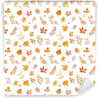 Watercolor autumn seamless pattern Washable Custom-made Wallpaper