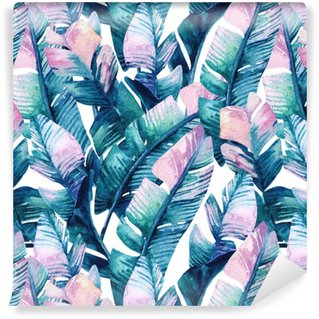 Watercolor banana leaf seamless pattern. Washable Wallpaper