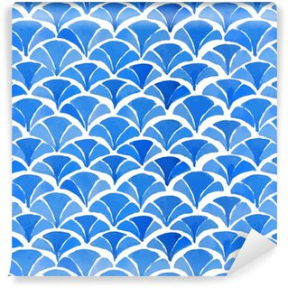 Watercolor blue japanese pattern. Washable custom-made wallpaper