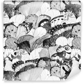 Watercolor butterfly vector pattern Washable custom-made wallpaper