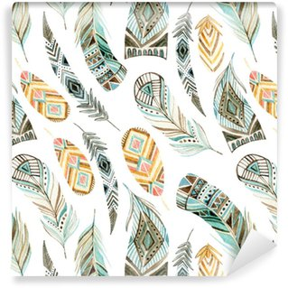 Watercolor ethnic feathers seamless pattern Washable Wallpaper