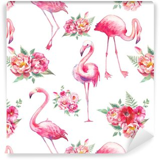 Watercolor flamingo and flowers seamless pattern. Hand painted floral texture with bright exotic birds on white background. Fashion wallpaper design Washable Custom-made Wallpaper