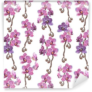 Watercolor orchid branches seamless pattern on white background Washable Custom-made Wallpaper