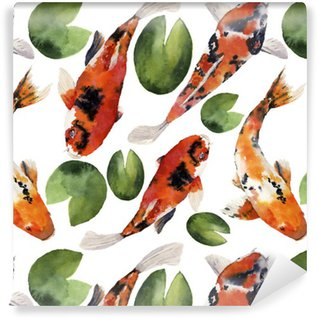 Watercolor oriental rainbow carp with water lily seamless pattern. Koi fishes ornament isolated on white background. Underwater illustration for design, background or fabric Washable Custom-made Wallpaper