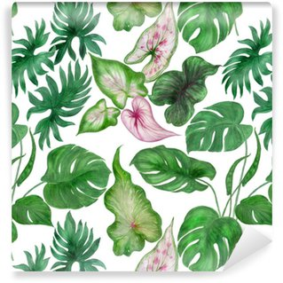 Watercolor painting seamless pattern with tropical leaves Washable Custom-made Wallpaper