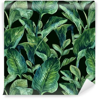 Watercolor Seamless Background with Tropical Leaves Washable Wallpaper