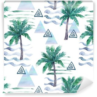 Watercolor seamless pattern. Palm tree, geometric elements and stripe lines. Abstract illustration Washable Wallpaper