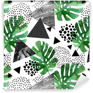 watercolor tropical leaves and textured triangles background Washable Custom-made Wallpaper