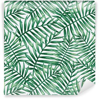 Watercolor tropical palm leaves seamless pattern. Vector illustration. Washable Custom-made Wallpaper