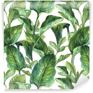 Watercolor with tropical leaves Washable Wallpaper