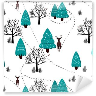 Winter forest scenery pattern, vector Washable Custom-made Wallpaper