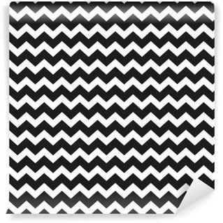 Zig zag pattern. Seamless zig zag bold line pattern. Vector illustration. Washable custom-made wallpaper