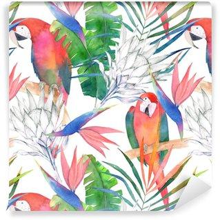 Papağanlar, protea ve yapraklarla tropik sorunsuz desen. suluboya yaz baskısı. egzotik elle çizilmiş illüstrasyon