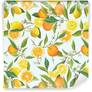 Portakal ve limon vektörel tropik desen. Çiçekler, yapraklar ve meyvelerin illüstrasyonu.