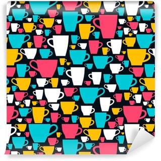 Renkli kahve fincanı ile kesintisiz desen. vektör illüstrasyonu.