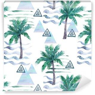 Suluboya dikişsiz desen. palmiye ağacı, geometrik elemanlar ve şerit çizgiler. soyut illüstrasyon