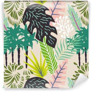 Zelfklevend behang, op maat gemaakt Abstract bladeren en palmbomen