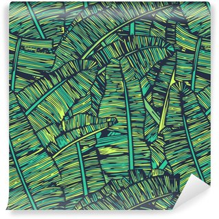 Zelfklevend behang, op maat gemaakt Banaan bladeren patroon