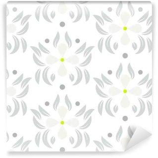 Zelfklevend behang, op maat gemaakt Bloemen verlaat naadloze vector patroon. witte grijze bloem herhalend behangpatroon.