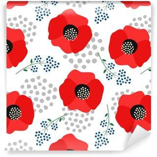 Zelfklevend behang, op maat gemaakt Bloemmotief op witte achtergrond. schattige rode papavers met decoratieve stippen naadloze achtergrond. modeontwerp voor stof, behang, textiel en decor.