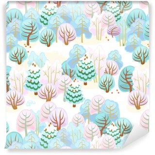 Bos in de winter met sneeuw / naadloos patroon van feebos met sneeuw