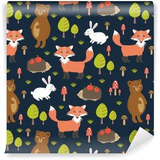 Zelfklevend behang, op maat gemaakt Bos naadloze patroon met schattige dieren