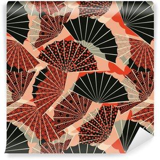 Zelfklevend behang, op maat gemaakt Een naadloze patroon in Japanse stijl waaiervorm, met 3 verschillende decoraties in een oranje en zwart palet