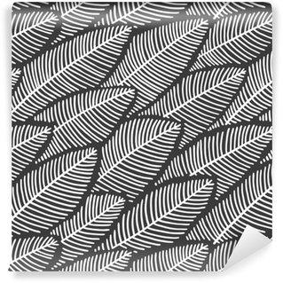 Zelfklevend behang, op maat gemaakt Elegante naadloze patroonbladeren