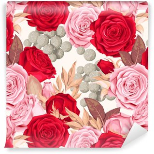Zelfklevend behang, op maat gemaakt Engelse rozen naadloos