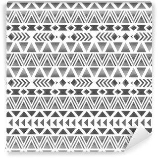 Zelfklevend behang, op maat gemaakt Etnische naadloze patroon. geometrische aquarel afdrukken