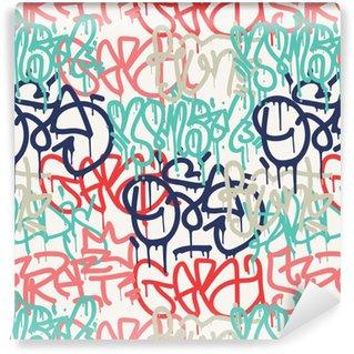 Zelfklevend behang, op maat gemaakt Graffiti achtergrond naadloze patroon