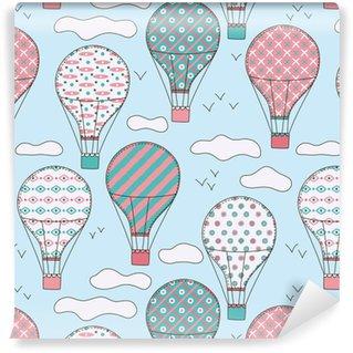 Hand getekend vector vintage naadloze patroon met schattige kleine lucht ballonnen in lucht met wolken. avontuurlijke droomachtergrond. kinderachtige illustratie. kind behang.