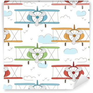 Zelfklevend behang, op maat gemaakt Hand getekend vector vintage naadloze patroon met schattige kleine vliegtuigen in de hemel met wolken. avontuurlijke droomachtergrond. kinderachtige illustratie. kind behang.