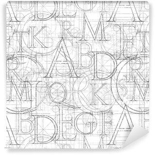 Zelfklevend behang, op maat gemaakt Lettertype naadloos wit