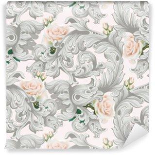 Zelfklevend behang, op maat gemaakt Luxe rococo ornament met rozen bloemen achtergrond vector. delicate rijke imperiale ingewikkelde elementen. Victoriaanse koninklijke stijl patroon
