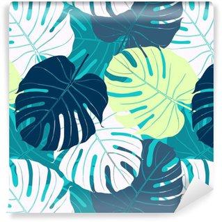 Zelfklevend behang, op maat gemaakt Naadloos patroon met palmbladeren
