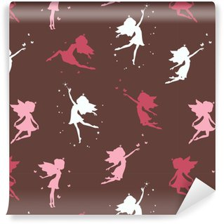 Zelfklevend behang, op maat gemaakt Naadloos patroon met silhouet van mooie fee op donkere achtergrond. vectorillustratie