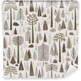 Zelfklevend behang, op maat gemaakt Naadloos winterpatroon van naaldbos