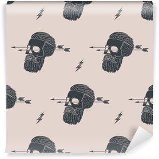 Zelfklevend Behang Naadloze patroon achtergrond van vintage schedel hipster met pijl. Grafisch ontwerp voor inpakpapier en stof textuur van shirt. vector Illustration