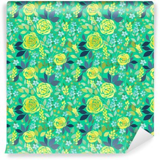 Zelfklevend behang, op maat gemaakt Naadloze patroon met gele rozen en blauwe kleine bloemen met bladeren op een turkooizen achtergrond