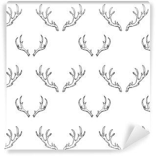 Zelfklevend behang, op maat gemaakt Naadloze patroon met hand getrokken herten hoorns. bosjacht