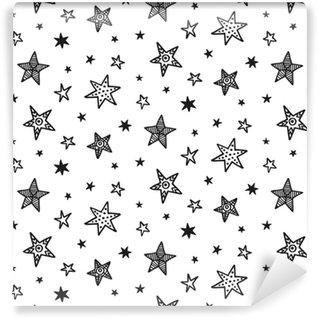 Zelfklevend behang, op maat gemaakt Naadloze patroon met hand getrokken sterren. Scandinavische stijl