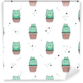 Zelfklevend behang, op maat gemaakt Naadloze patroon met schattige cactus kat. vector achtergrond.