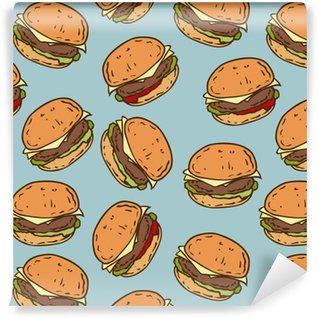 Zelfklevend behang, op maat gemaakt Naadloze patroon met smakelijke hamburger
