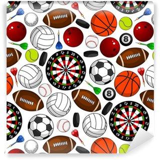 Zelfklevend behang, op maat gemaakt Naadloze patroon met sportartikelen